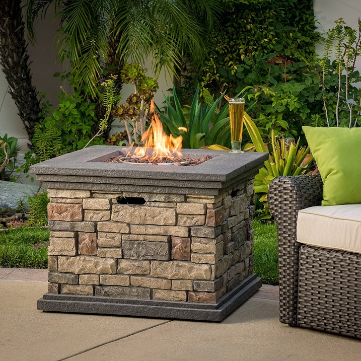 Crawford Outdoor Propane Fire Pit with lava rocks