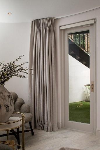 Left stack of Marianne Mist curtains by Pret A Vivre